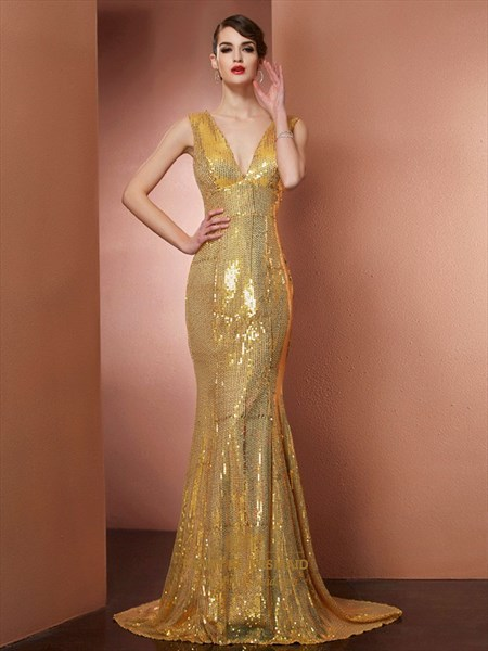 Elegant Cap Sleeve V Neck Sequin Mermaid Long Prom Dress With Train