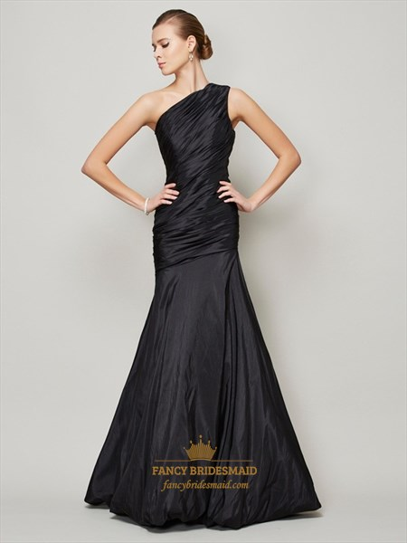 Black One Shoulder Ruched Bodice Drop Waist Mermaid Long Formal Dress