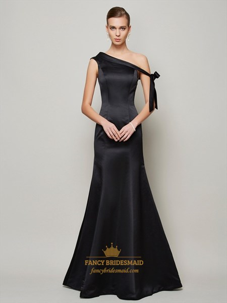 Asymmetrical One Shoulder Elegant Black Mermaid Long Evening Dress