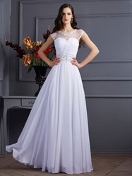 White Illusion Neckline A-Line Chiffon Prom Dress With Keyhole Back