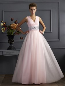 Blush Pink Sleeveless V Neck Empire Waist Prom Gown With Sheer Back