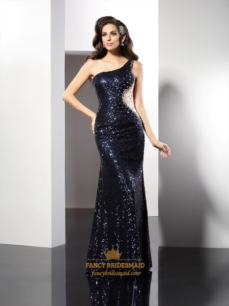 One Shoulder Navy Blue Sequin Mermaid Prom Dress With Illusion Waist