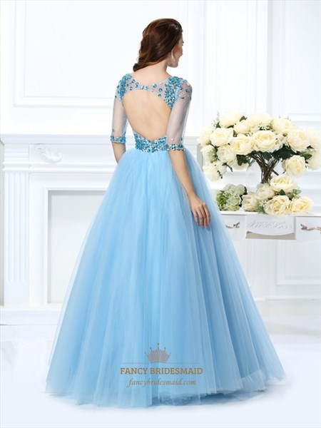 Illusion Half Sleeve V Neck A-Line Tulle Ball Gown With Keyhole Back