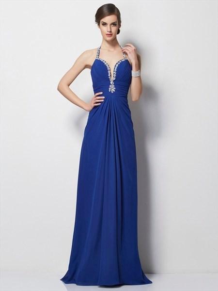 Royal Blue Halter Deep V Neck A-Line Chiffon Prom Dress With Open Back