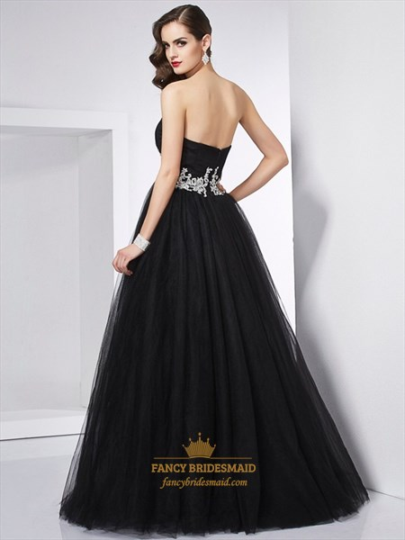 Black Strapless Empire Waist A-Line Tulle Prom Dress With Appliques