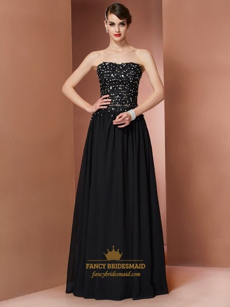 A-Line Black Strapless Long Prom Dress With Beaded Embellished Bodice