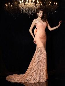 Elegant Sleeveless V-Neck Lace Mermaid Open Back Prom Dress With Bow