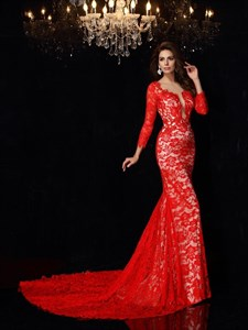 Sheer Red Lace Long Sleeve Mermaid Keyhole Back Prom Dress With Train
