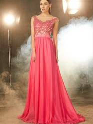 Cap Sleeve Lace Bodice Chiffon Bottom A-Line Floor Length Prom Dress