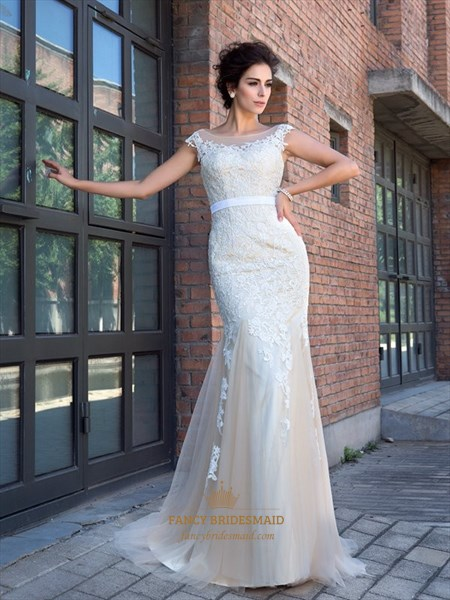 Illusion Cap Sleeve Lace Embellished Mermaid Prom Dress With Open Back