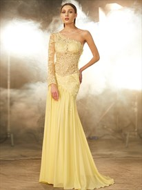 Banana Yellow One Shoulder Lace Chiffon Evening Dress With Long Sleeve