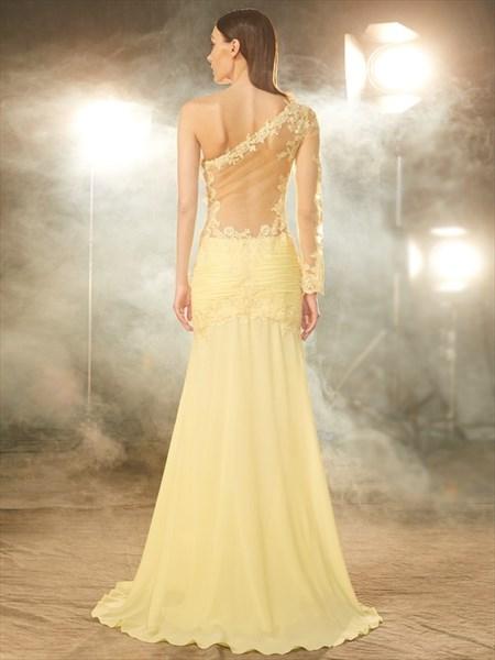 Banana Yellow One Shoulder Lace Chiffon Evening Dress With Long Sleeve