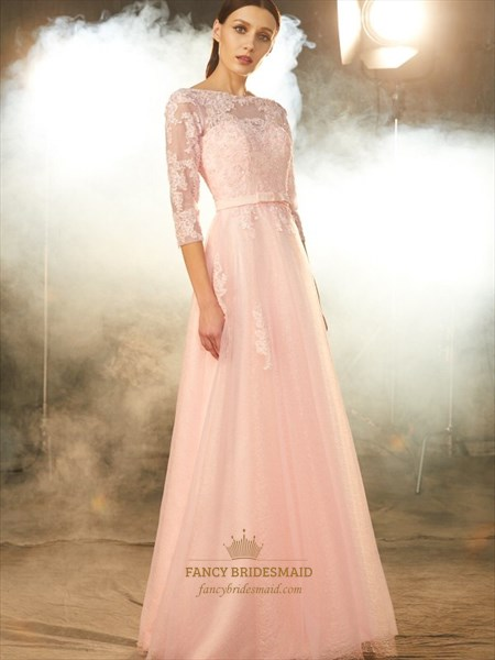 Illusion 3/4 Length Sleeve Lace Bodice A-Line Floor Length Prom Dress