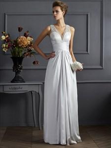 Silver Sleeveless V Neck Floor Length Evening Dress With Beaded Top