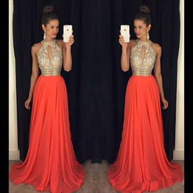 A Line Halter Sleeveless Long Chiffon prom dresses With Beaded Top