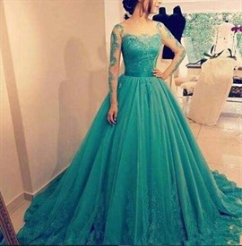 Emerald green Square Neckline Long Sleeve Lace Ball Gown Prom Dresses
