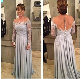 Silver A Line Off The Shoulder Jewel Sheer Back Long Prom Dress