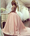 Ball Gown Off The Shoulder Long Sleeve Beading Satin Prom Dresses