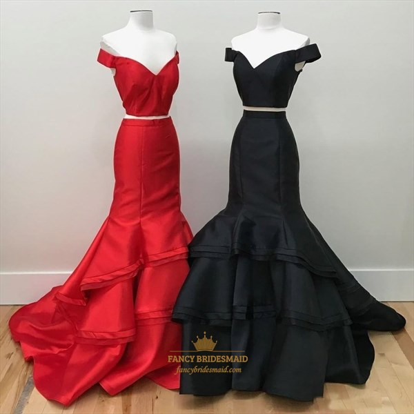 Two Piece Mermaid Floor Length Tiered Taffeta Prom Dress
