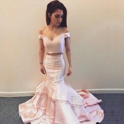 Two Piece Mermaid Floor Length Tiered Taffeta Prom Dress