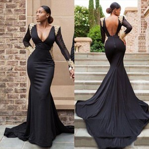 Black V-Neck Sheer Long Sleeves Cut-Out Back Prom Dress With Train