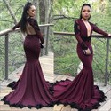 Burgundy Mermaid Long Sleeve Open Back Ruffles Prom Dress