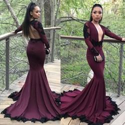 Burgundy Mermaid Long Sleeve Open Back Ruffles Prom Dress