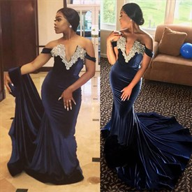 Dark Navy V-Neck Cap Sleeves Applique Prom Dress With Train