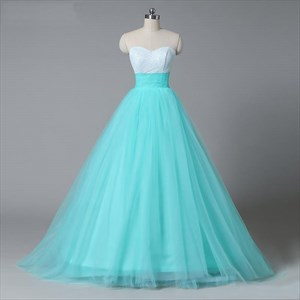 Princess Ball Gown Sweetheart Sequin Lace Up Long Tulle Prom Gown