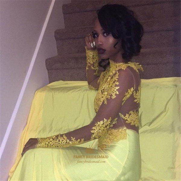 Yellow High Neck Long Sleeve Applique Satin Prom Dress With Train
