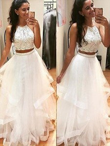 Ivory Two Piece A Line Halter Sleeveless Beaded Tulle Prom Dress