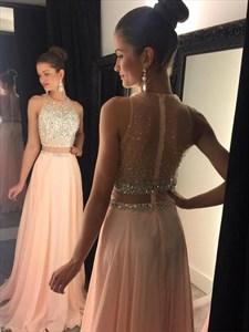 Illusion A line High Neck Beaded Cut Out Waist Chiffon Prom Dress