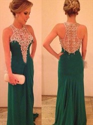 Elegant A-Line Sleeveless High Neck Rhinestone Chiffon Prom Dresses