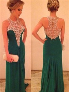 Elegant A-Line Sleeveless High Neck Rhinestone Chiffon Prom Dresses