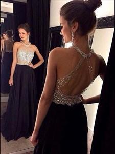 Illusion Black Halter Backless Jeweled Floor Length Prom Dress