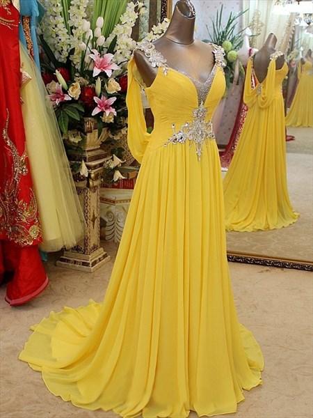 Elegant A Line Beaded Straps Floor Length Chiffon prom dress