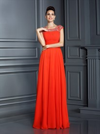 A Line Red Bateau Neckline Ruched Bodice Beaded Chiffon Prom Dress