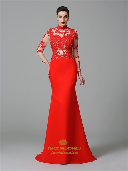Elegant Red High Neck Long Sleeve Lace Applique Prom Dresses