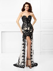 Black Sweetheart High Low Appliques Satin Prom Dress With Tulle Skirt