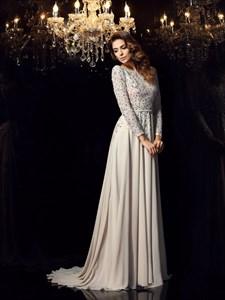 Grey A Line Bateau Open Back Jewel Embellished Chiffon Prom Dress