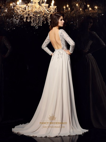 Grey A Line Bateau Open Back Jewel Embellished Chiffon Prom Dress