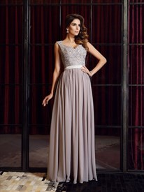 Cap Sleeve Floor Length Prom Dress With Bead Embellished Sheer Bodice