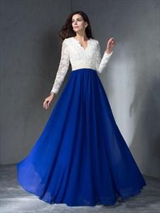 Simple Lace Top Chiffon Bottom V Neck Beaded Floor Length Prom Dress