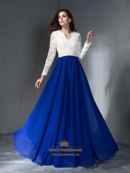 Simple Lace Top Chiffon Bottom V Neck Beaded Floor Length Prom Dress