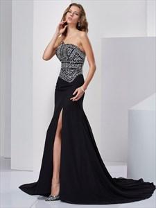 Black Asymmetrical Beaded Top Chiffon Evening Dress With Front Split