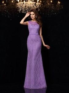 Lilac Sleeveless Sheath Beaded Lace Overlay Illusion Prom Dresses