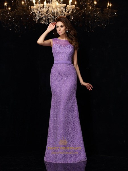 Lilac Sleeveless Sheath Beaded Lace Overlay Illusion Prom Dresses