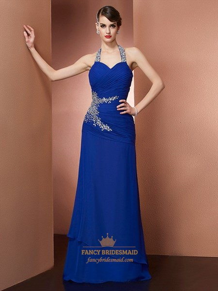 Royal Blue Pleats Beaded Floor Length Prom Dress With Lace Up Back