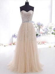 Pearl A Line Sweetheart Tulle Prom Dress With Crystal Waist