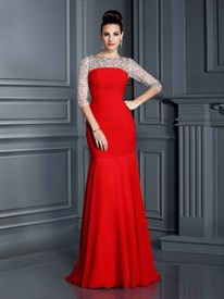 Red Bateau Sheath 3/4 Length Sleeve Mother Of The Bride Dresses